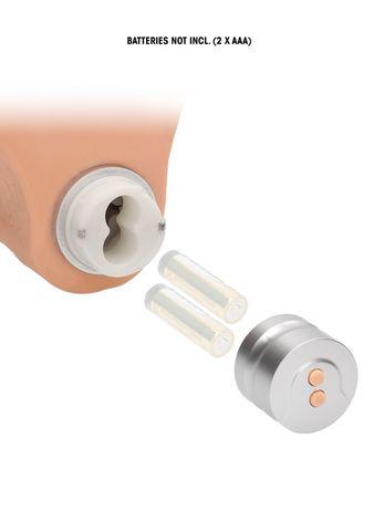 Телесный вибратор Vibrating Dildo With Balls - 17 см.