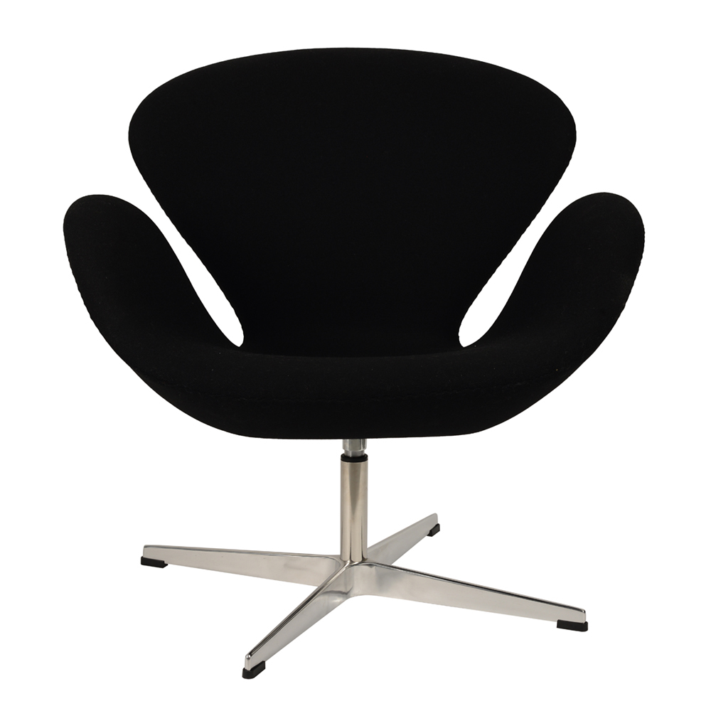 Кресло Arne Jacobsen Style Swan Chair черная шерсть - вид 3