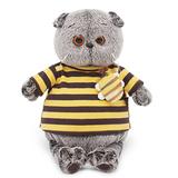 Кот Басик в полосатой футболке с пчелой