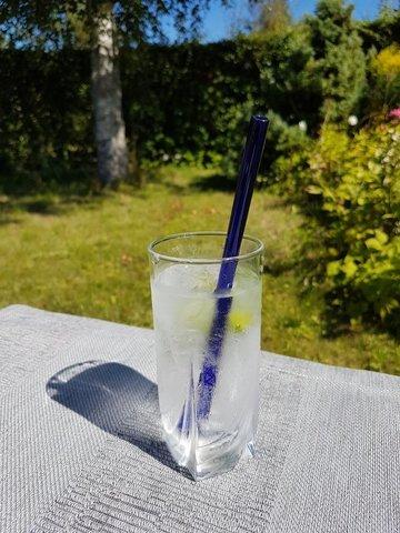 Трубочка стеклянная прямая синяя
