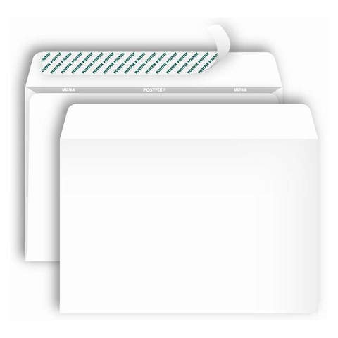 Конверт Postfix Bong C4 90 г/кв.м белый стрип с внутренней запечаткой (250 штук в упаковке)