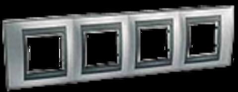 Рамка на 4 поста. Цвет Хром матовый-графит. Schneider electric Unica Top. MGU66.008.238