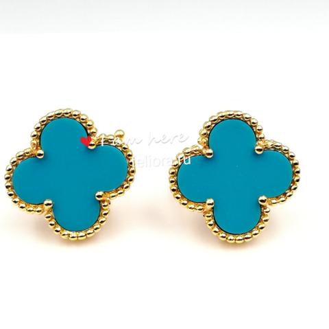 90219 - Серьги Trendy из золоченного серебра с голубой вставкой 1 мотив