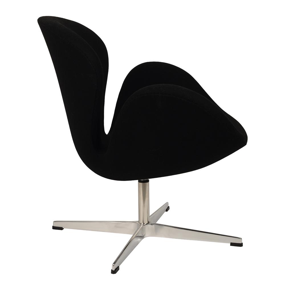 Кресло Arne Jacobsen Style Swan Chair черная шерсть - вид 4
