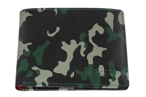 Портмоне Zippo, зелёно-черное камуфляж, натуральная кожа, 10,8×2,5×8,6 см