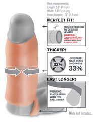 Насадка-расширитель с кольцом для подхвата мошонки Real Feel Enhancer - 14 см. -