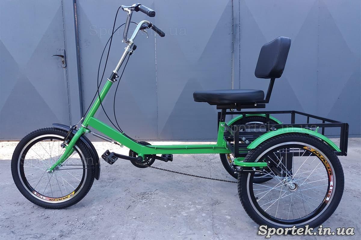 Триколісний вантажний велосипед для важкоатлетів, пенсіонерів, інвалідів, 'Атлет малий' (зелений)