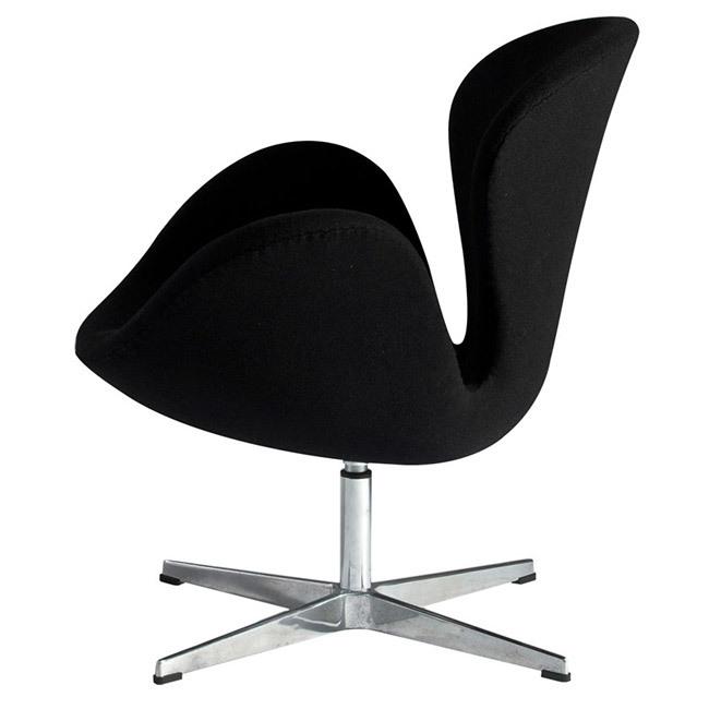 Кресло Arne Jacobsen Style Swan Chair черная шерсть - вид 5