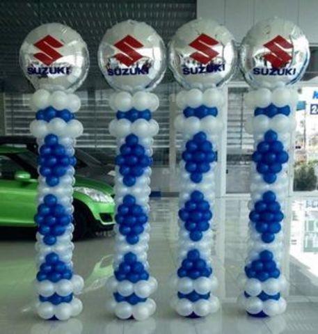 Колонна из шаров с логотипом на фольгированном шаре