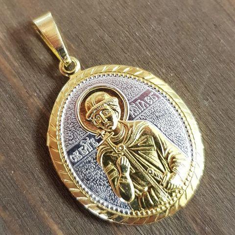 Нательная именная икона святой Глеб с позолотой кулон с молитвой