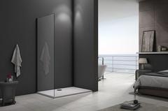 Душевое ограждение (боковая часть) Good Door Galaxy SP-70-C-B черный профиль