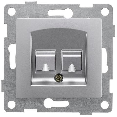 Розетка телефонная двойная RJ12/RJ12. Цвет Серебро. Bravo GUSI Electric. С10Т2-004