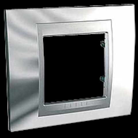 Рамка на 1 пост. Цвет Хром глянцевый-алюминий. Schneider electric Unica Top. MGU66.002.010