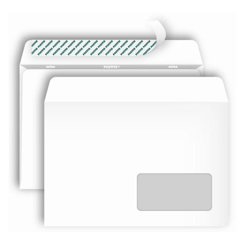 Конверт Postfix Bong С5 80 г/кв.м белый стрип с внутренней запечаткой с правым окном (1000 штук в упаковке)