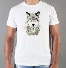 Футболка с принтом Волк (Wolf) белая 0034