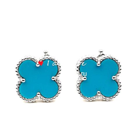 90218 - Серьги Trendy из серебра с голубой вставкой 1 мотив