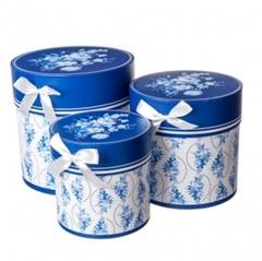 Набор коробок круглых Гжель 3шт, D21хH21см, белый/синий