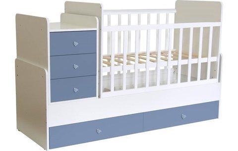 Кроватка детская Polini kids Simple 1111 с комодом, белый-синий