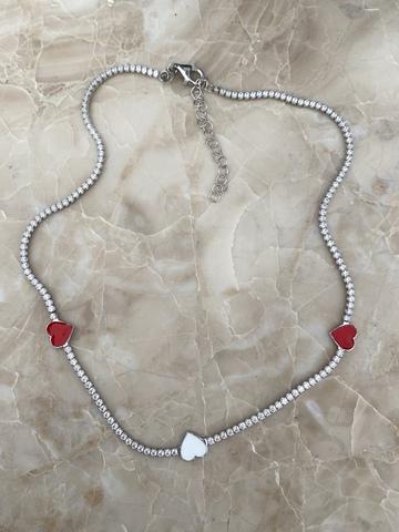 Колье Дева из серебра с белой и красными звездами из эмали