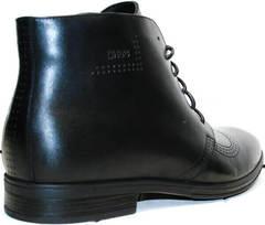 Высокие кожаные ботинки мужские мужские зима Ikoc 3640-1 Black Leather.