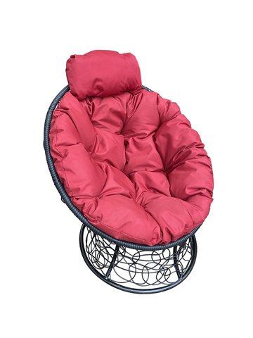 Кресло «Папасан» пружинка black/burgundy