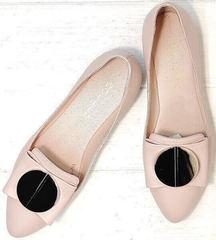 Лодочки туфли без каблука. Женские балетки туфли бежевые Wollen - Light Pink
