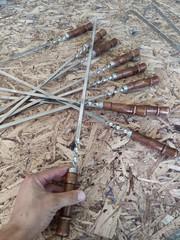 Шампур нерж. сталь ручка 3*10мм длинна 40-50см (мин. заказ 5 шт - пачка), 2 сорт
