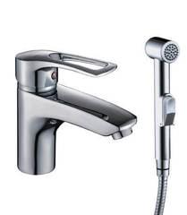 Смеситель для раковины Rossinka Silvermix T40-15 однорычажный с гигиеническим душем, хром