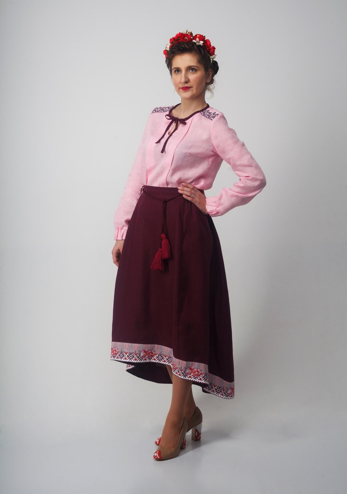 Блуза Самоцветы сапфир с юбкой