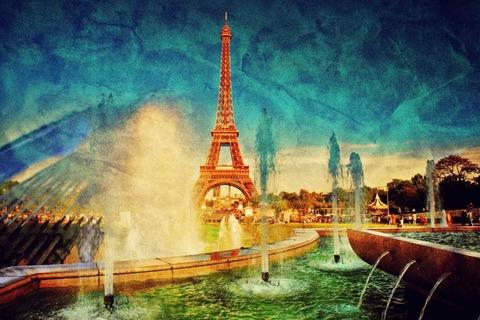 Картина раскраска по номерам 30x40 Вид на Эйфелеву башню через фонтаны