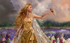 Картина раскраска по номерам 30x40 Девушка в золотом платье с птицей