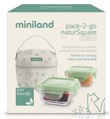 Термосумка Miniland Pack-2-Go Natursquare (2 квадратных контейнера)