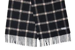 Шерстяной шарф, мужской черный в клетку 30301