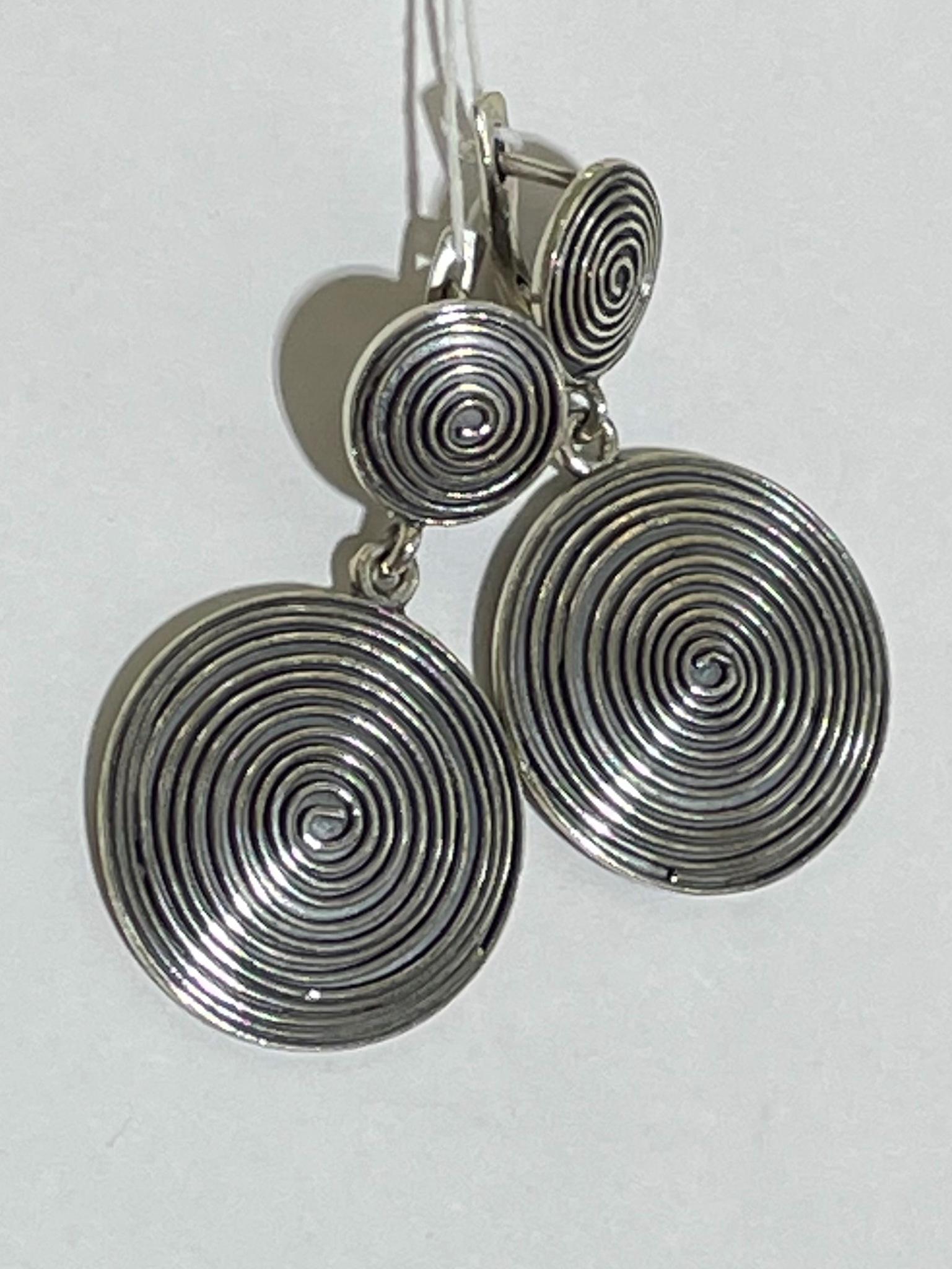 Спираль (серьги из серебра)