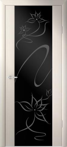 Дверь Фрегат Симфония, черный триплекс с рисунком и стразами SWAROVSKI, цвет беленый дуб, остекленная
