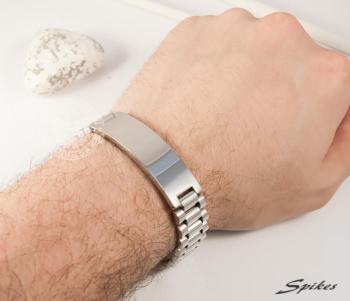 SSBQ-0009-1 Мужcкой браслет из ювелирной стали с пластиной, «Spikes» (21 см) фото 06