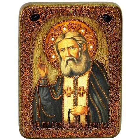 Инкрустированная икона Преподобный Серафим Саровский чудотворец 20х15см на натуральном дереве в подарочной коробке