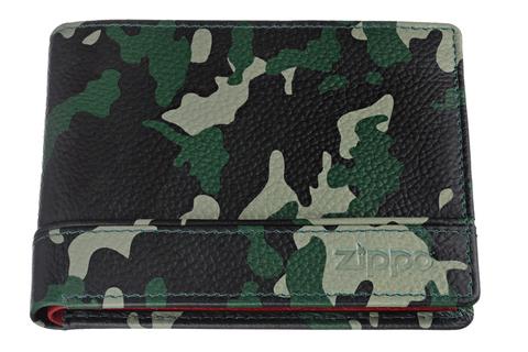 Портмоне Zippo, зелёно-черный камуфляж, натуральная кожа, 11,2×2×8,2 см