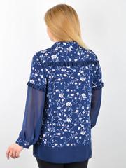 Нури. Весенняя блуза плюс сайз. Синий+цветы.