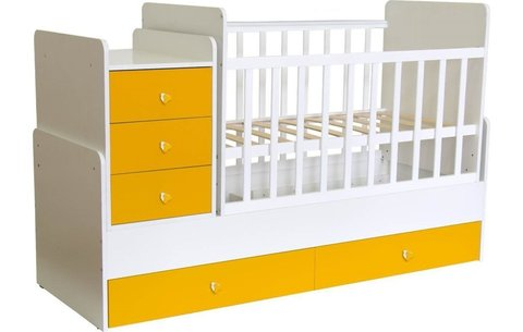 Кроватка детская Polini kids Simple 1111 с комодом, белый-солнечный