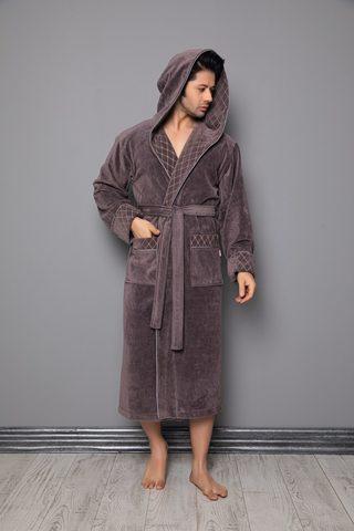 Мужской велюровый халат с капюшоном 1260 лате Nusa Турция.