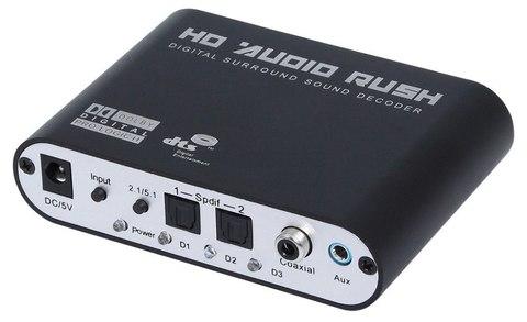 Аудио переходник (конвертер  адаптер) Из Цифровой Коаксиальный и Оптический Toslink на 5.1 или 2.1 аналоговый 6RCA (Digitall to Analog)