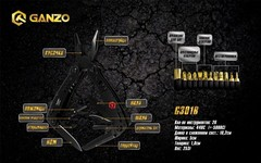 Мультитул Ganzo G301B, 105 мм, 26 функций, нейлоновый чехол