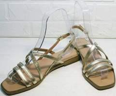 Модные сандалии из натуральной кожи женские Wollen M.20237D ZS Gold.