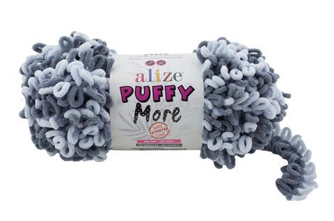 Купить Пряжа Пуффи Море цвет 6265 темно-серый и светло-серый | Интернет-магазин пряжи «Пряха»
