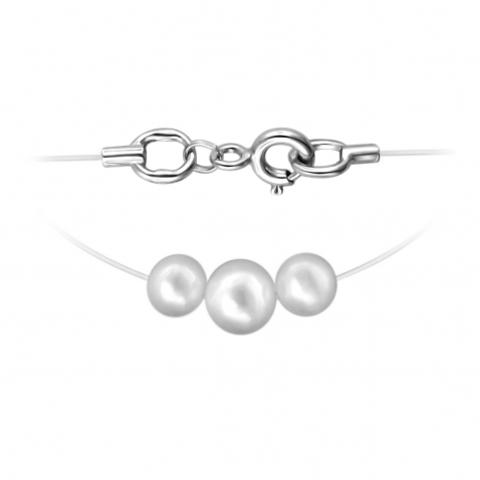 01Л351803-1 - Три жемчужины на леске-невидимке с замками из серебра