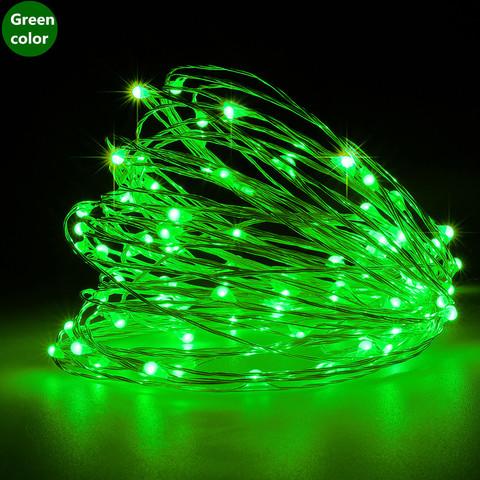 Светодиодная проволока гирлянда роса зеленая с адаптером