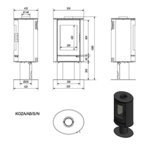 Печь-камин Kratki KOZA/AB/S/N (сталь) (8 кВт) Под заказ