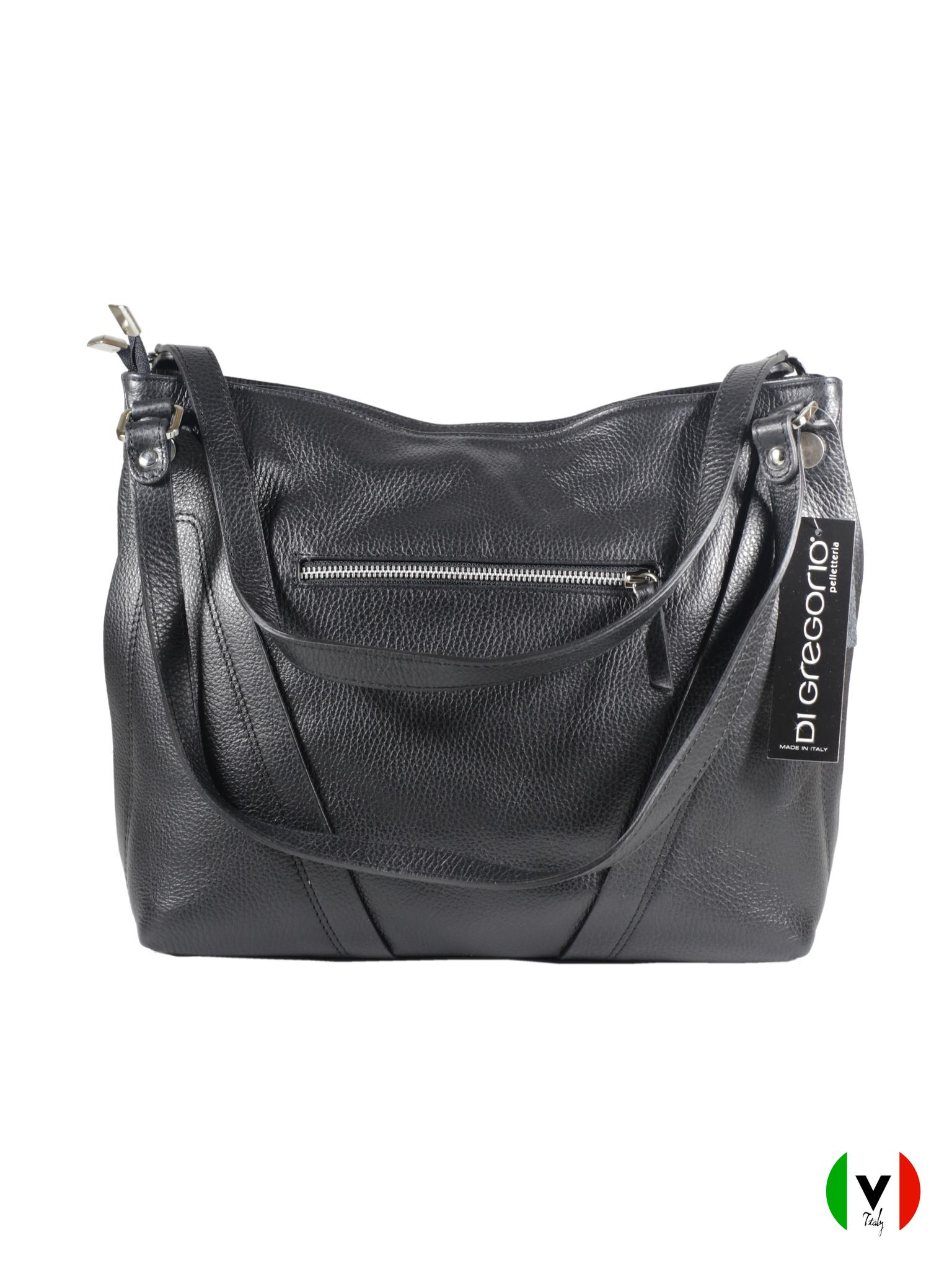 Мягкая сумка Di Gregorio с крокодиловой вставкой 8681-black, артикул 8681-black, цвет чёрный, цена 13 500 руб., veroitaly.ru