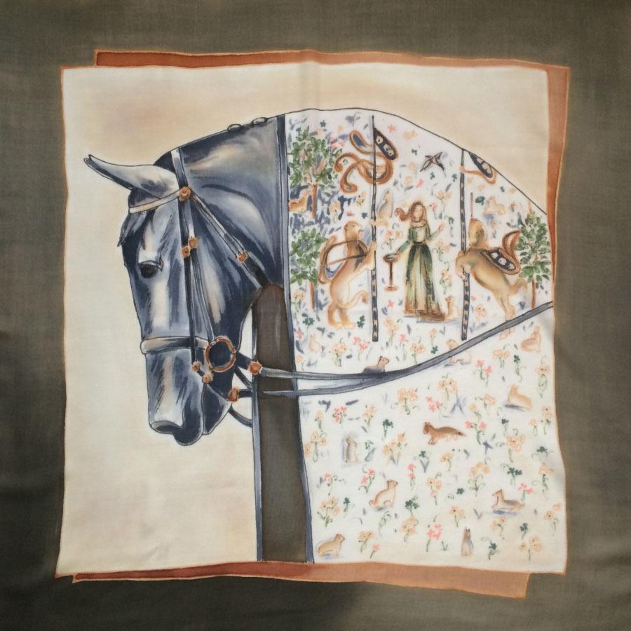 Шерстяной платок батик Кальвадос С-60-sh